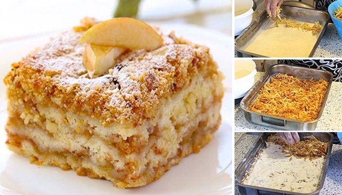 Photo of Gestreuter Tassenkuchen mit Äpfeln