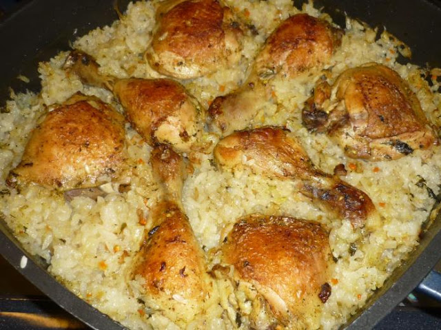 Photo of Hähnchenkeulen mit Reis aus dem Ofen