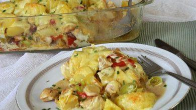 Photo of Gebackene Kartoffeln mit Lauch und Hähnchen